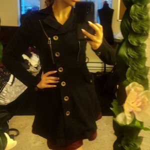 Full length peacoat fitted dress coat